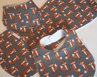 Fox Baby Bib Burp Cloth Gift Set /Create Your Own Baby Shower Gift FREE SHIPPING