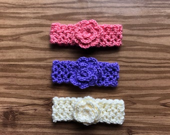 Crochet Baby Headband With Small Flower/Baby Shower Gift/Photo Prop/FREE DOMESTIC SHIPPING