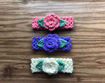 Crochet Baby Headband With Small Flowerand Leaves/Baby Shower Gift/Photo Prop/FREE DOMESTIC SHIPPING