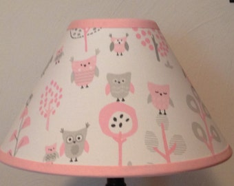 Owl Pink and Gray Fabric Nursery Lamp Shade/Baby Gift FREE SHIPPING