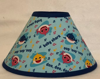 Blue Baby Shark Children's Fabric Lamp Shade/Children's Gift FREE SHIPPING