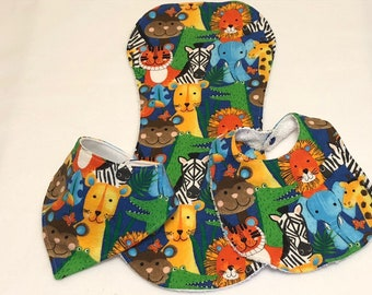 Jungle Animals Baby Bib Burp Cloth Gift Set/Create Your Own Baby Shower Gift Free Shipping