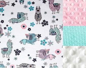 Personalized Llama Minky Baby Blanket /Lovey/Stroller Blanket/ Shower Gift FREE SHIPPING