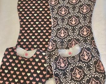 Pink and Gray Hearts Baby Girl Bib Burp Cloth Gift Set/Baby Shower Gift