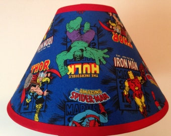 Marvel Comics Superheroes Fabric Childrens Lamp Shade/Children's Gift FREE SHIPPING