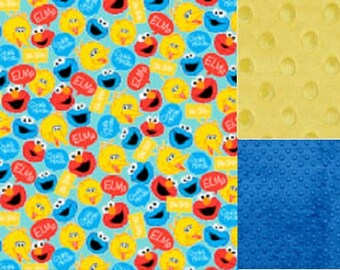 Personalized Minky Sesame Street Faces Baby Blanket /Lovey/ Stroller Blanket/Shower Gift FREE SHIPPING