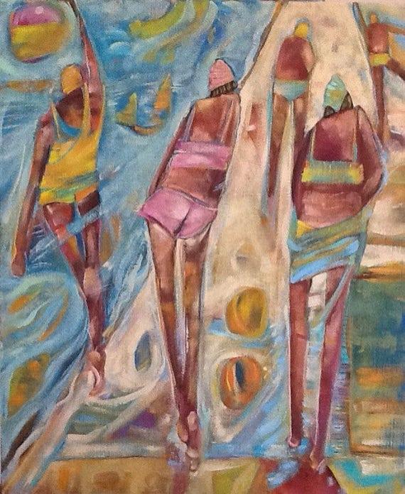 figures on beach scene acrylic painting 24x20 beach scene etsy