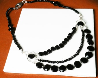 Black Infinity Layered Necklace