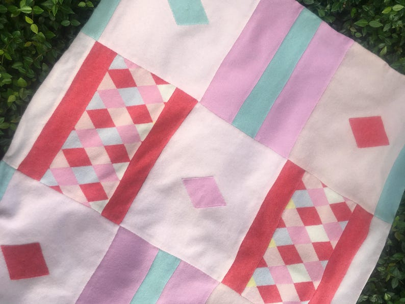 Cashmere Baby Blanket in Argyle  Pink Turquoise Coral Jester Lavender Quilt Throw