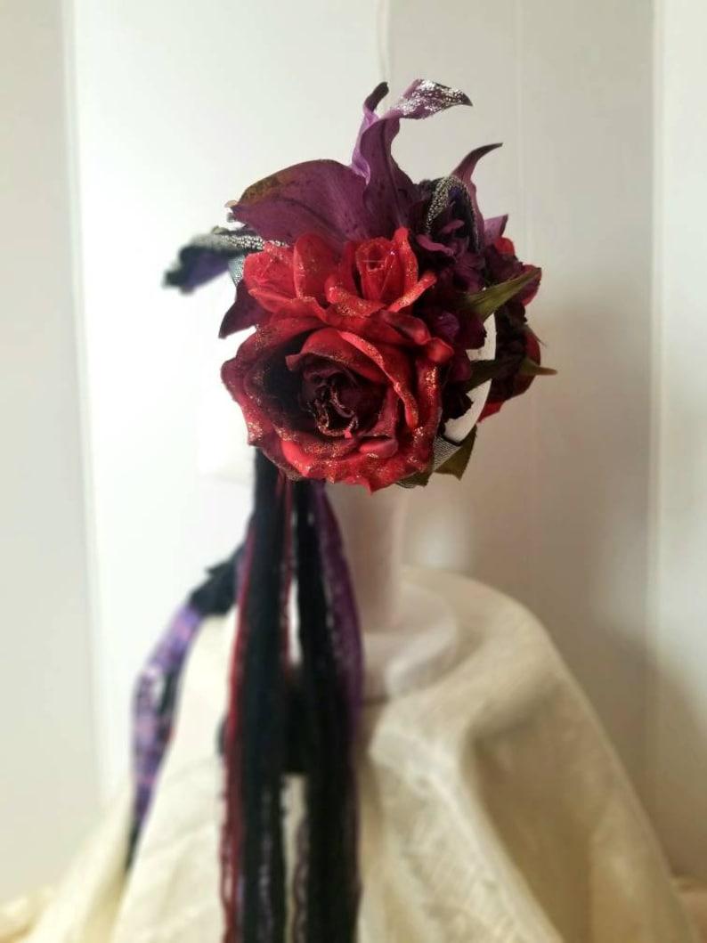 Purple Lily Red Rose Silver FCBD Fusion Belly Dance Adjustable Headdress Head Piece