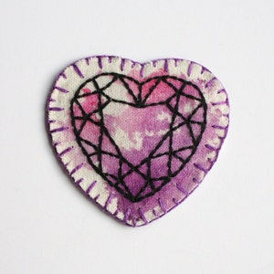 wearble art. hand embroidered crystal heart patch hand embroidery pink orange and yellow diamond heart gem patch mixed media textiles
