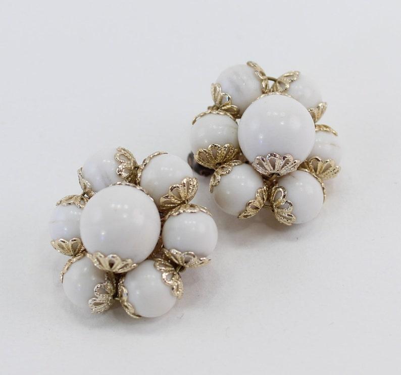 Vintage Signed Japan White Goldtone Filigree Wedding Bridal Plastic Beaded Cluster Clip On Earrings