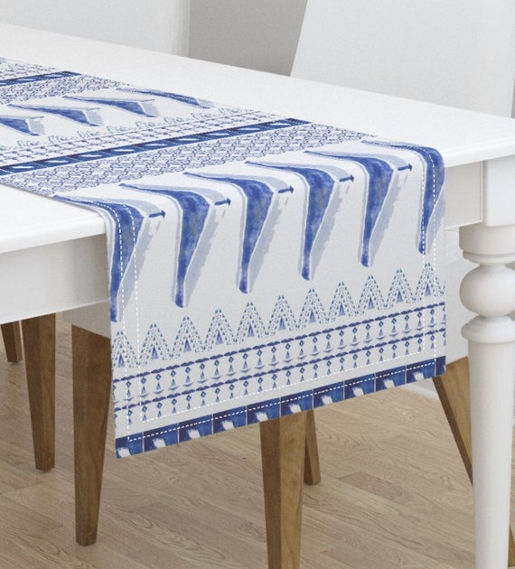 Fresh Blue Watercolor Home Decor for Kitchen or Dining Room, Table Runner  with Custom Sizes Available!