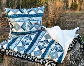 Soft and Cozy Blanket for Toddler or Adult! Two Southwest Designs to Choose, Velvet Fabric Reversed in Sherpa Fabric.