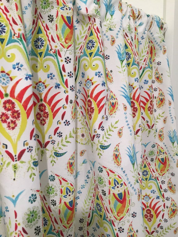 Paisley Turquoise, Red, Yellow, Lime Green Cafe Valances, Window  treatments, kitchen curtain, bathroom or bedroom valance or curtains
