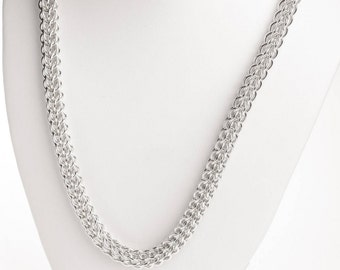 25th Anniversary, Silver Gift for Her, Sterling Silver, Chainmail Necklace, Chain Link Necklace, Ontario Canada, Chunky Chain, Plain Chain