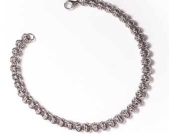 Chainmail Bracelet, Steel Gift for Her, Custom Fit, 11th Anniversary, Thin Bracelet, Chainmaille Bracelet, Intricate, Slender Bracelet