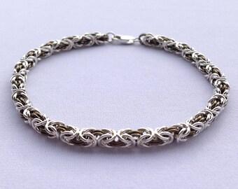Sterling Chainmail, Byzantine Weave, Chainmail Bracelet, Petite, Byzantine Chain, Womens Chainmail, Byzantine Bracelet, Niobium Jewelry