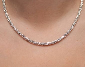 Chain Only Necklace, Womens Chainmail, Made in Canada, Chainmaille Necklace, Byzantine Chain, Sterling Silver, Silver Gift for her