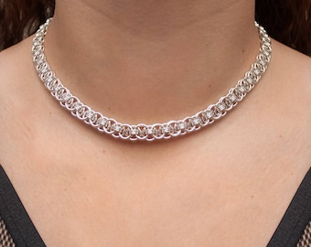 Chainmail Choker, Chainmaille Necklace, 25th Anniversary Gift, Helm Weave, 25 Year Anniversary, Silver Gift for Her, Chainmaille Collar