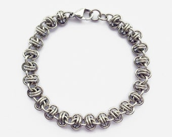 Chainmail Bracelet, Men's Steel Bracelet, Mens Chain, Gift for Him, Easy Care, Thick Chain Bracelet, 11th Anniversary, Chainmaille Bracelet