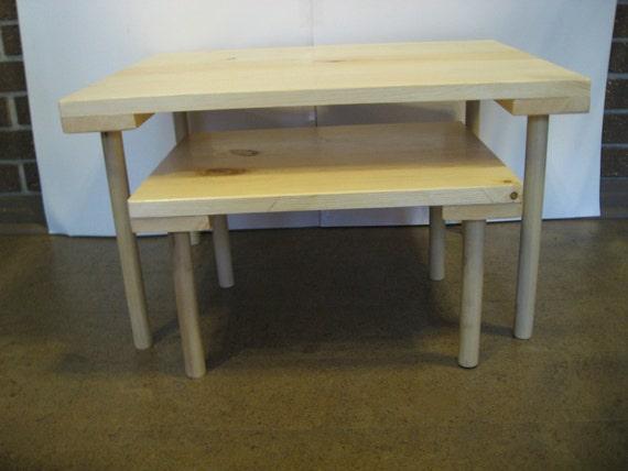 set of 2 montessori nesting floor tables etsy. Black Bedroom Furniture Sets. Home Design Ideas