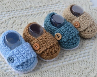 Crochet Baby Booties Button Loafers, Baby Boy Shoes-Baby Booties, Baby Boots.