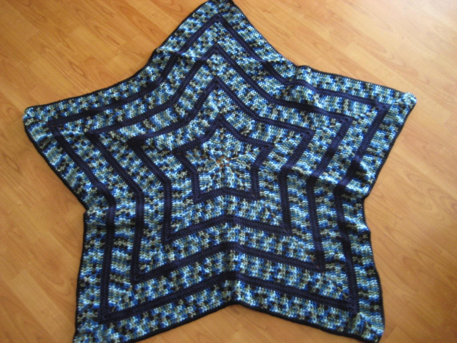 Handmade Star Shaped Crochet Afghan Blanket Etsy