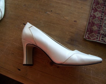 White and Pearl Patent Leather Heels