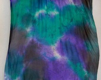 Silk Fan Veil SET (2fans )-Nebula Series- Jade/ Electric Purple/ Black