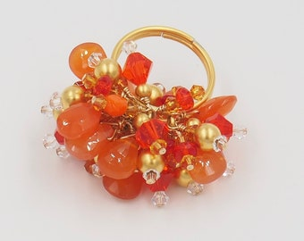 Adjustable Band Beaded /Tangerine and Gold Cocktail Ring with Carnelians and Swarovski Crystals