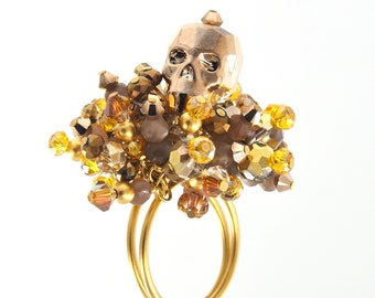 Adjustable Bronze Swarovski Crystal Skull Cocktail Ring with Chocolate Moonstones and Amber Crystal accents