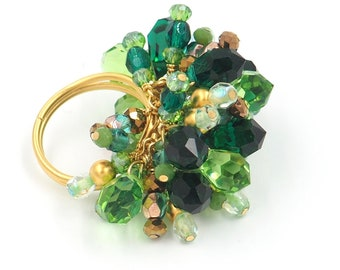 St Patricks Day Adjustable Beaded Crystal Cocktail Ring in Green Emerald and Gold/ Boho Hippie/Glam