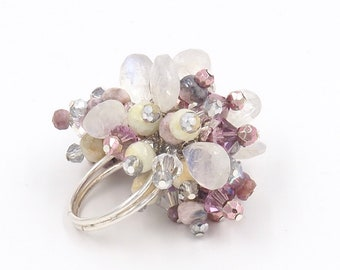 Adjustable Silver Band Cocktail Ring/ Moonstones/Crystals/Glam Ring