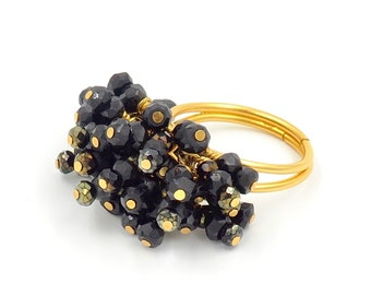Adjustable Black and Gold Caviar Crystal Cocktail Ring One of a Kind