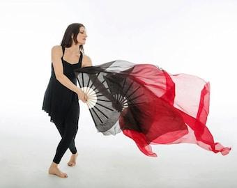 Fan Veil SET (2 FANS)  Color: Tulip Series - Black/Fire Red