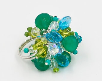 Adjustable Beaded Emerald Jungle Crystal and Chalcedony Cocktail Ring in Bright Emerald and Aqua