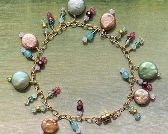Pastel Pearl Charm Charm Bracelet