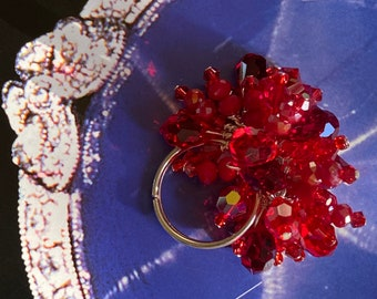 Adjustable Valentine's Red Beaded Crystal Cocktail Ring Scarlet and Ruby Red Crystals