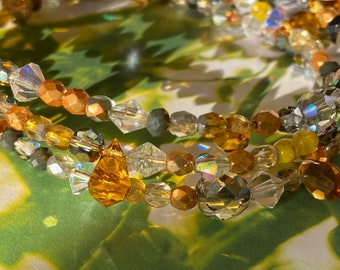 Cosmos Expandable Wrap Beaded Boho Bracelet/ Multi Hued Gold Silver Amber Beads and crystals
