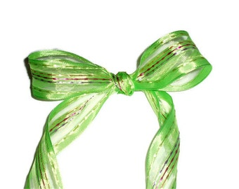 """Green with Strips Ribbon / Easter Ribbon ... 1.5"""" X 10 yards"""