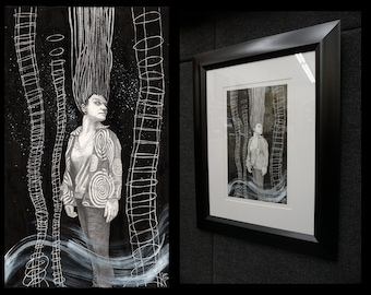 She Came Alive When She Heard The Night Wind Cry - Original Framed Drawing