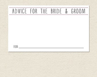Printable 3.5x2 or 6x4  Bride & Groom Advice Cards PDF Instant Download