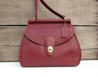 Vintage Coach Bag Logan Crossbody in Oxblood Leather Made in USA Rare Color af5f3810a52b2