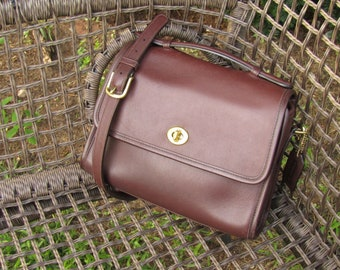 Vintage Coach Bag Court Bag in Mahogany Leather Crossbody Purse