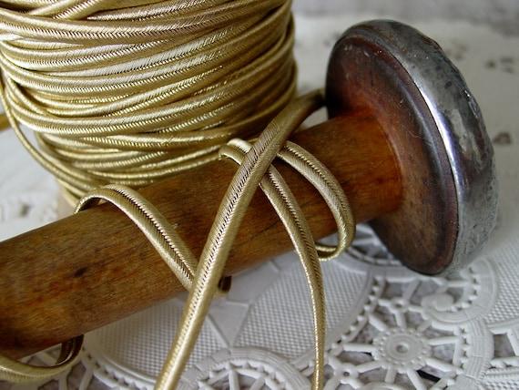 "2 yds Vintage Antique French Gold Metallic Soutache Braid Trim 3//16/"" Military"