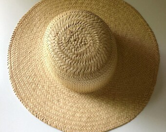965846ca Beautiful Vintage designer woven straw hat,vintage straw hat, vintage boho  sun hat, Vintage Anita Pineault straw hat, Vintage garden hat