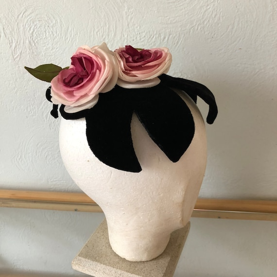 Vintage floral fascinator, vintage pink head piece