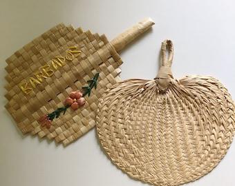 Set of 2 vintage raffia straw fans, Vintage woven straw wall fans, woven wall art, walk art decor, boho wall art, woven palm leaf fans