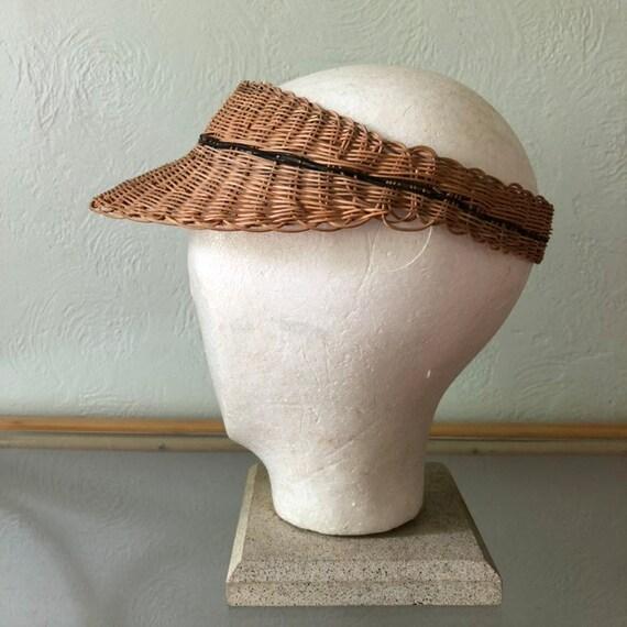 Vintage wicker sun visor, vintage wicker visor, bo